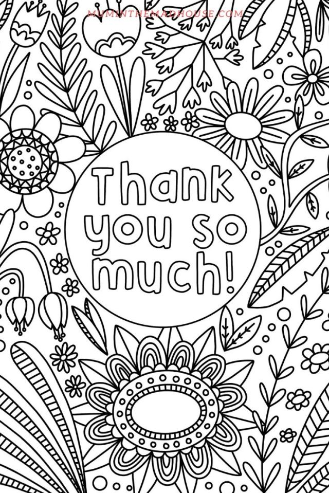 Thank You Colouring Pages - Mum In The Madhouse