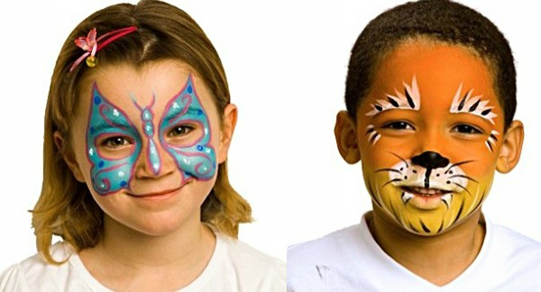 face painting birthday party, face painting for children, face painting ideas, how to do a butterfly face painting,  face painting tiger