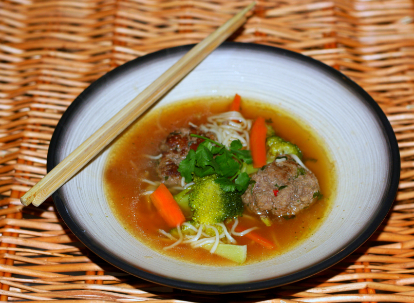 thai vegetable broth with spicy meatballs