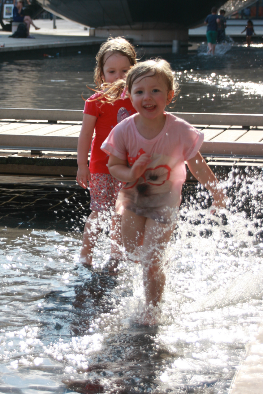 Amy and Sophie splashing at @Bristol