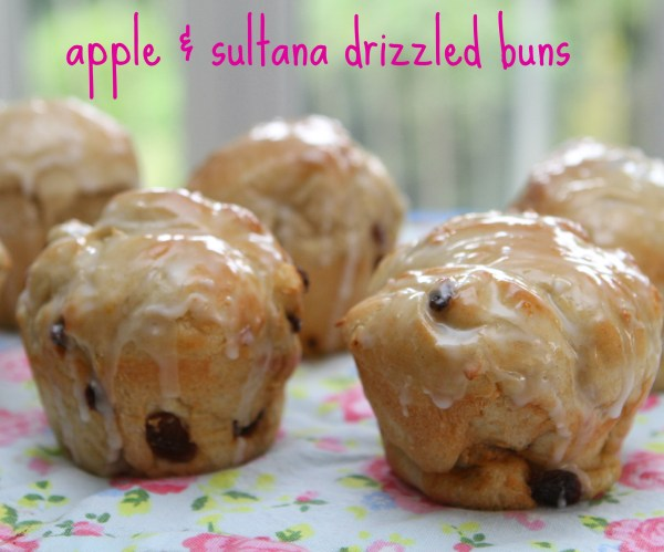 Apple & Sultana Drizzled Buns