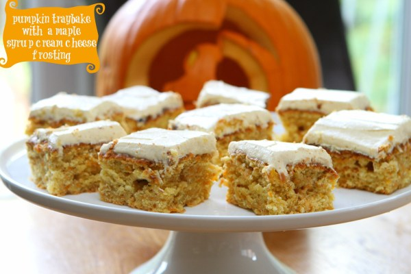Pumpkin Traybake with a Maple Syrup Cream Cheese Frosting