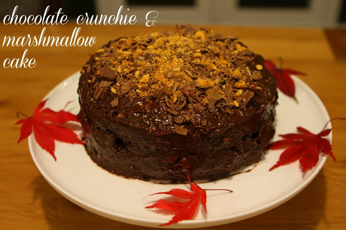 Chocolate Crunchie & Marshmallow Cake