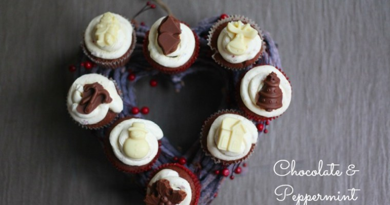 Chocolate & Peppermint Christmas Cupcakes