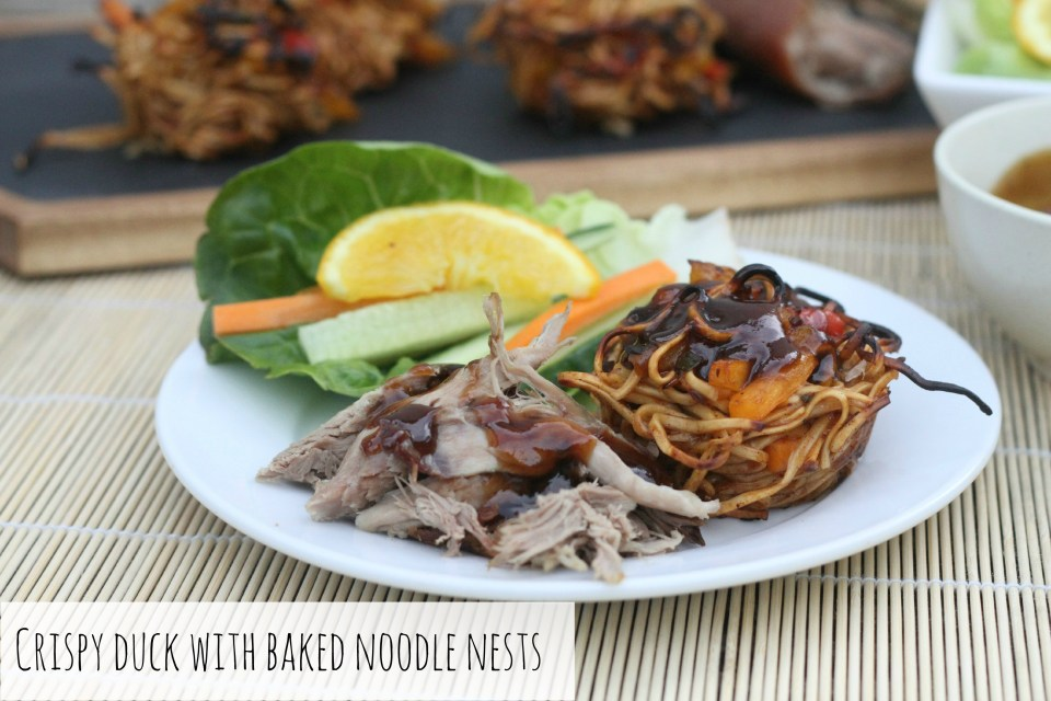 Crispy Duck with Baked Noodle Nests