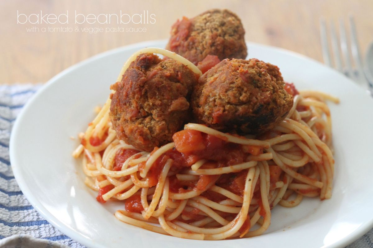 baked beanballs with a tomato & veggie pasta sauce