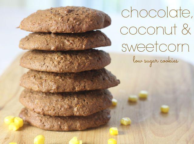chocolate, coconut & sweetcorn low sugar cookies
