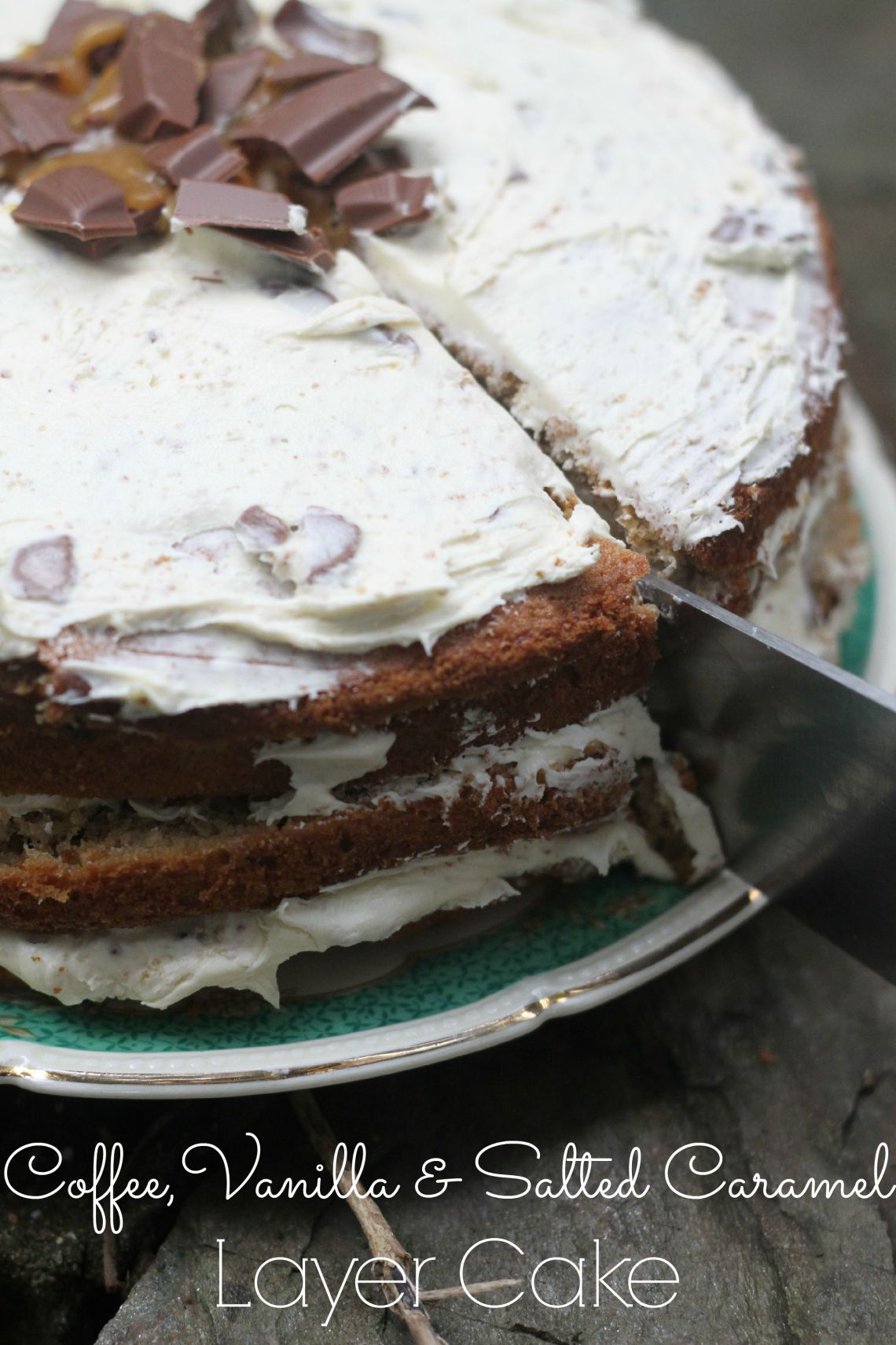 coffee, vanilla & salted caramel layer cake