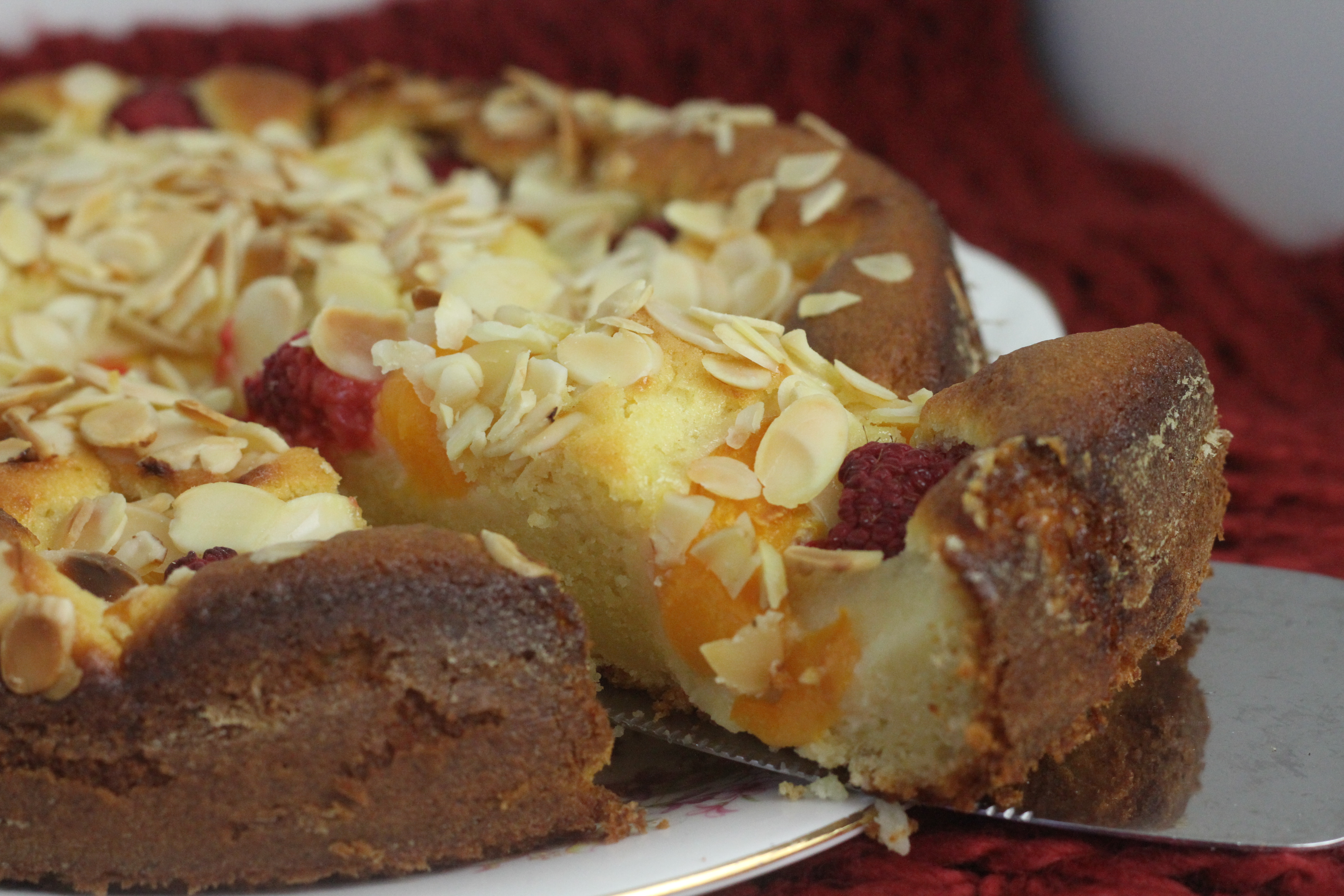 Peach Melba Yogurt Cake