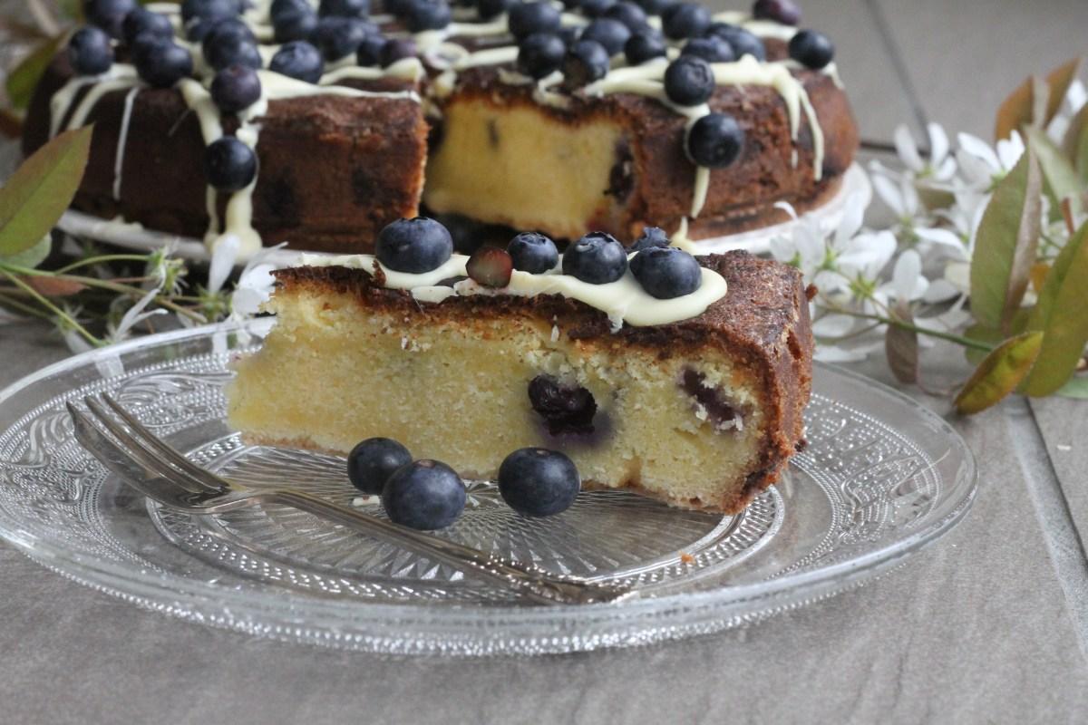 White Chocolate & Blueberry Blondie Cake