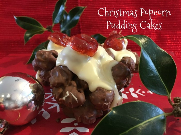 christmas popcorn pudding cakes