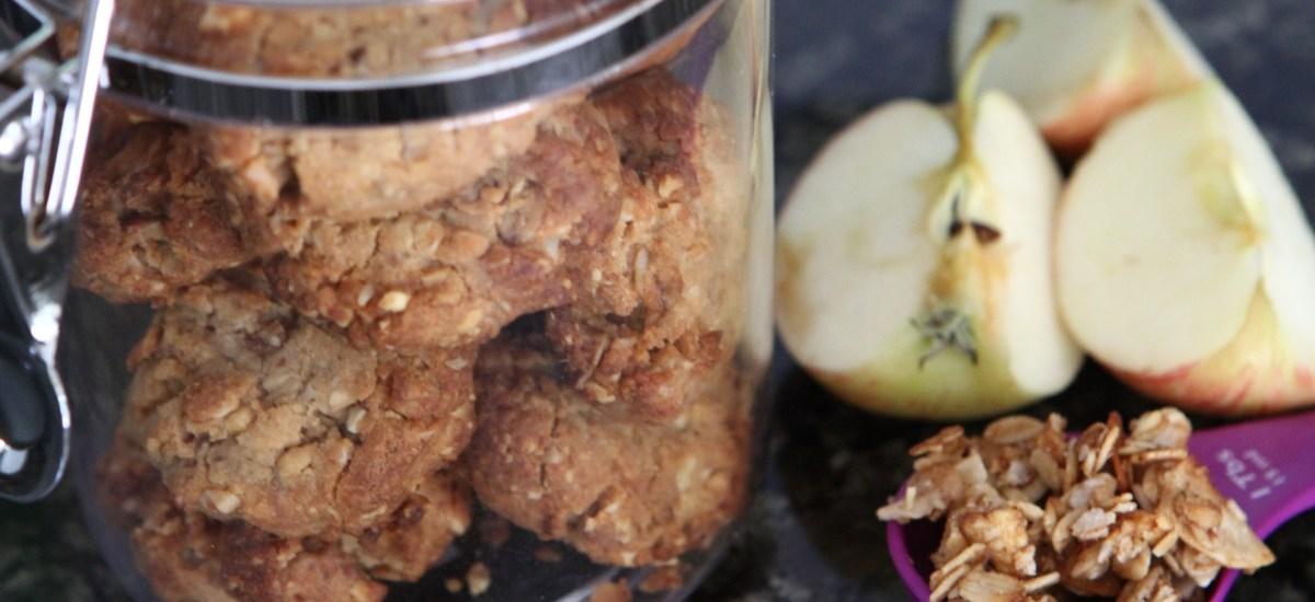 Sugar Free Peanut Butter & Apple Granola Cookies