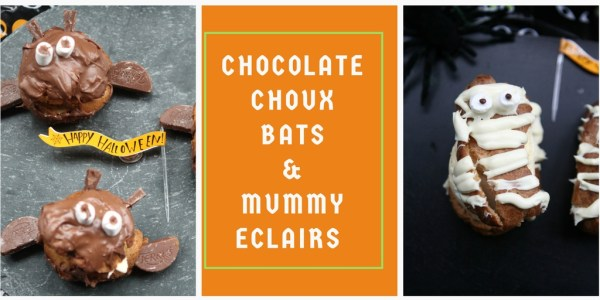 Halloween Mummy Eclairs and Chocolate Choux Bats #GBBO #Patisserieweek