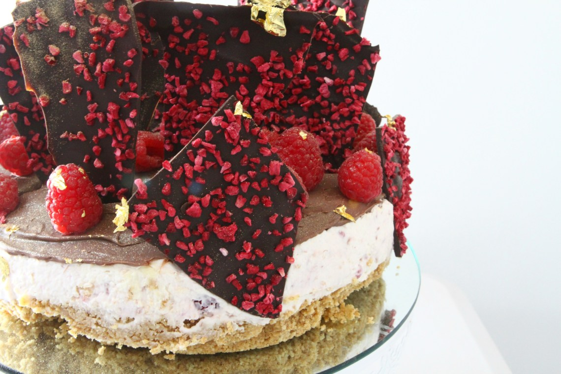 Triple Chocolate Raspberry Cheesecake