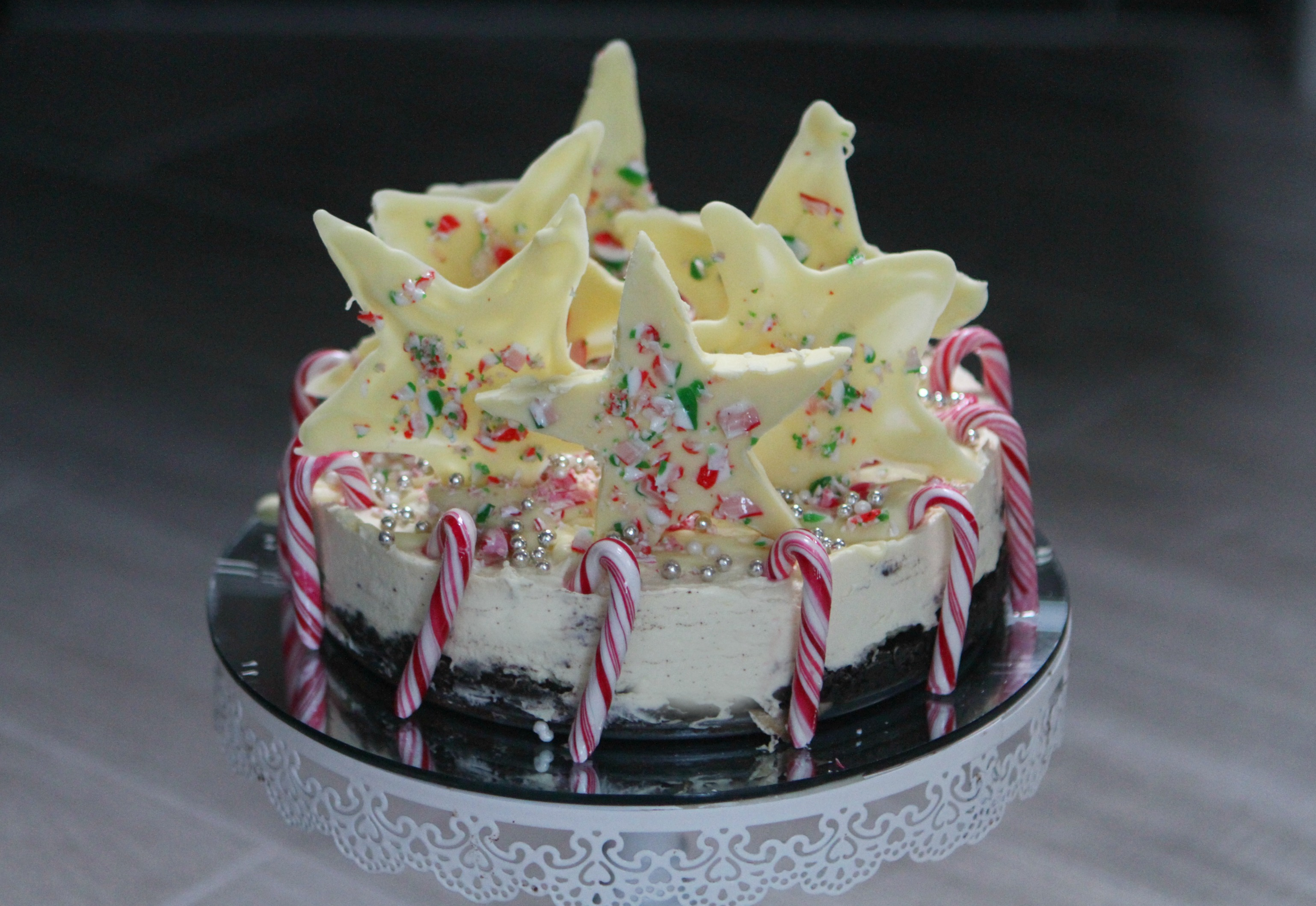 Candy Cane White Chocolate Cheesecake