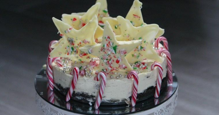 Candy Cane White Chocolate Cheesecake