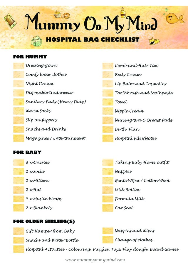 Hospital Bag Checklist - MummyOnMyMind