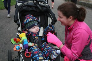 Running with a baby and a buggy