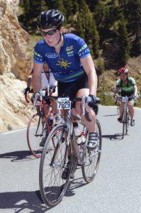 Struggling uphill in the Etape du Tour
