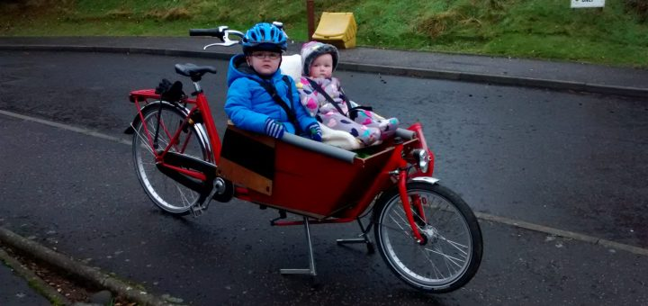 My two children on our bakfiets cargo bike
