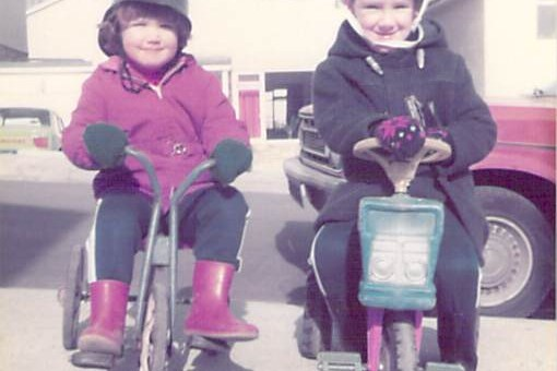 my brother and I on trikes in 1979