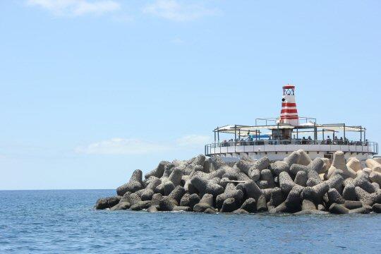 Lighthouse at the entrance to the marine at Puerto de Mogan, Gran Canaria
