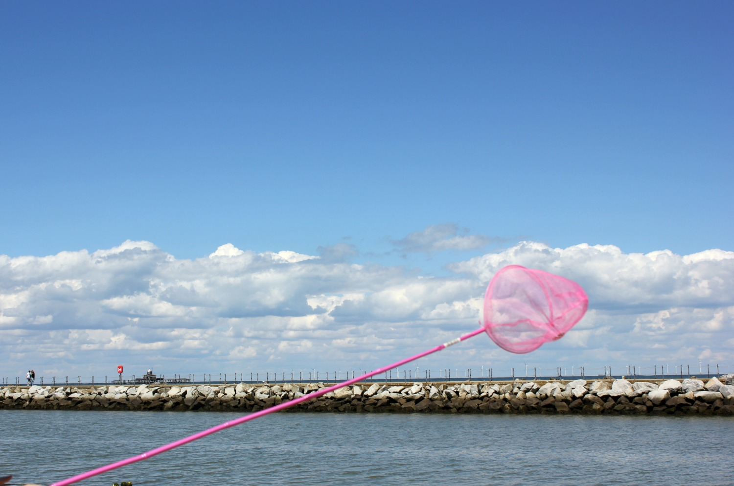 Letting your imagination run with with the help of a child's net - catching 'sharks' in the shallows at Herne Bay in Kent