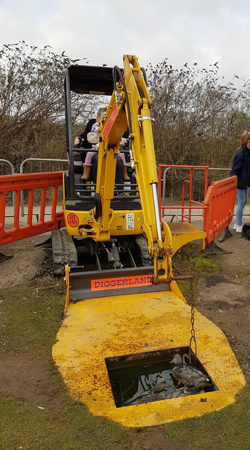 Trying to hook a duck at Diggerland Kent - one of the attractions on this family day out