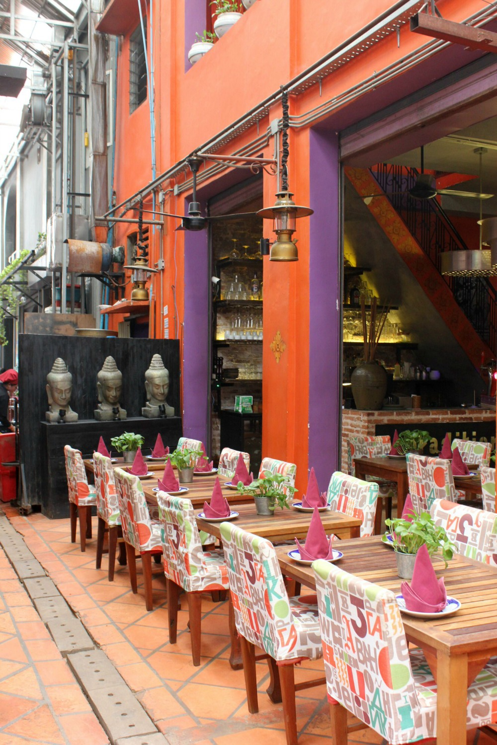 A brightly coloured restaurant in Siem Reap - 12 reasons to visit Cambodia with kids
