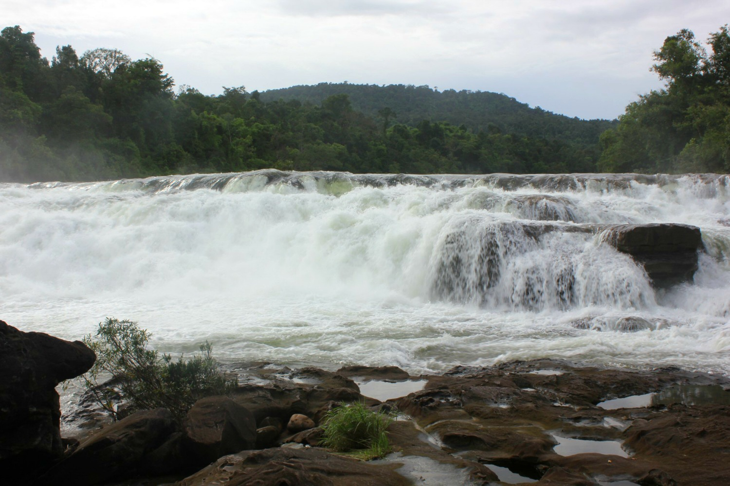 The upper cascades of the Tatai Waterfalls - - discovering Cambodia's Cardamom Mountains with kids