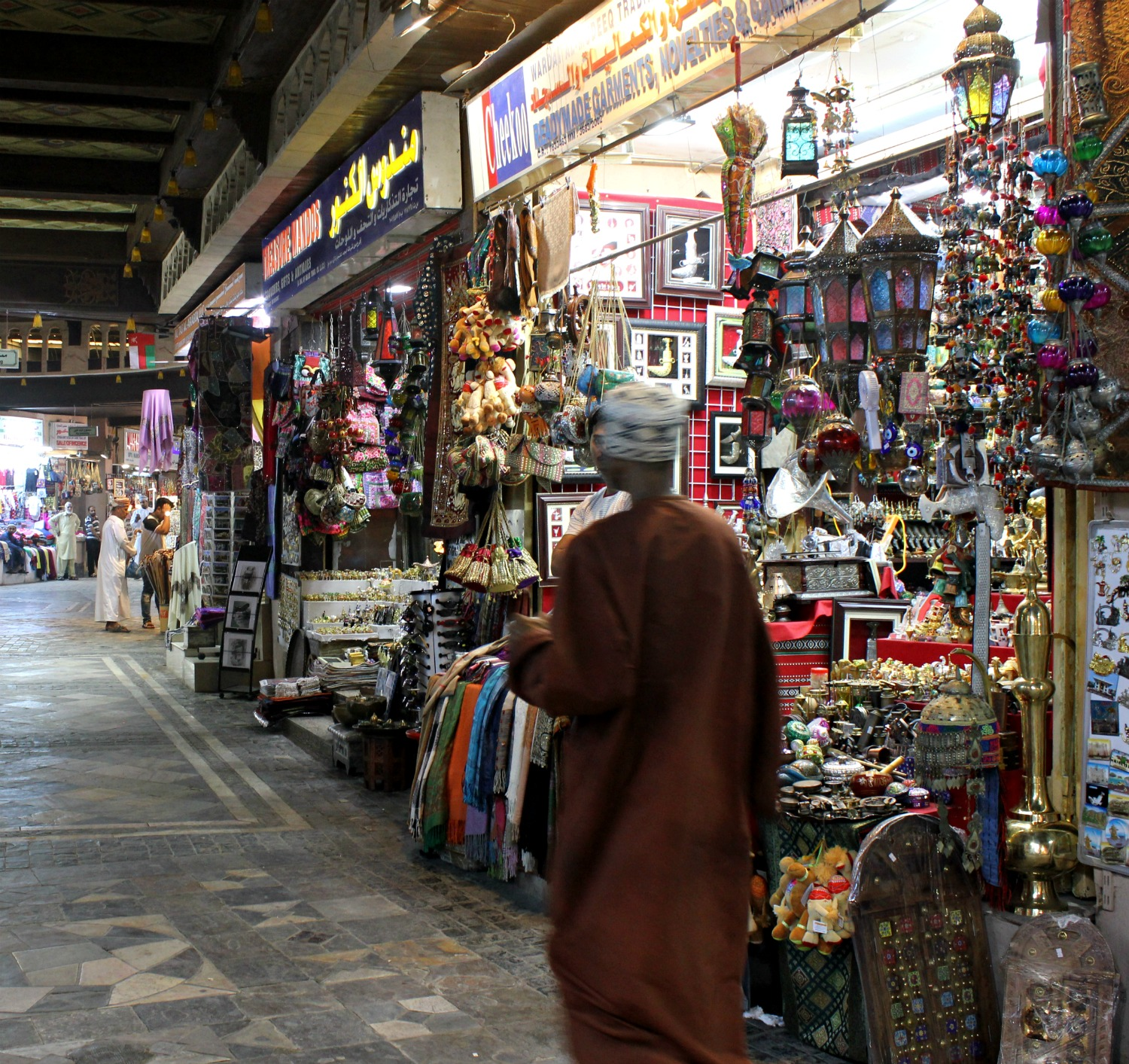 A man walked through Mutrah souk, the oldest in Muscat - my tips for spending 24 hours in Muscat, Oman with kids