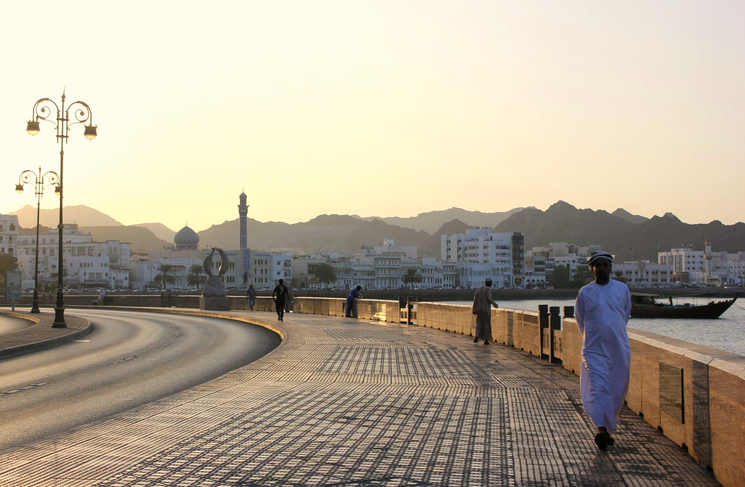 The corniche at Mutrah at sunset in Muscat, Oman - my nine reasons to visit Oman with kids