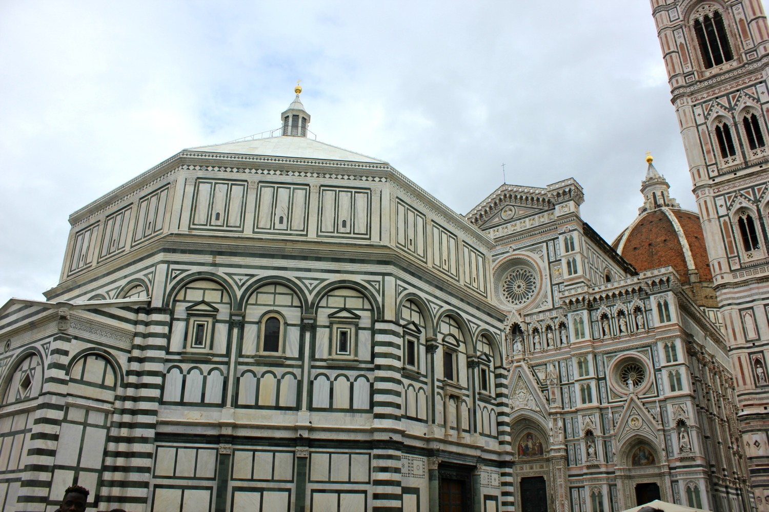 Florence Duomo on a cloudy day - my Uffizi tour with kids and gelato making day in Florence