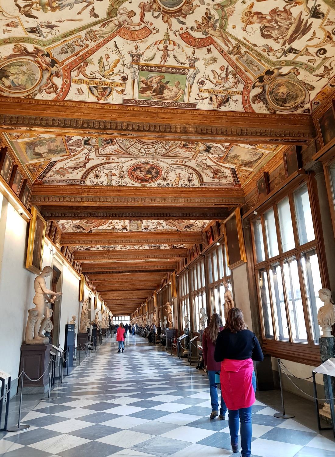 The decorative gallery at the Uffizi museum with its painted ceiling - my Uffizi tour with kids and gelato making day in Florence