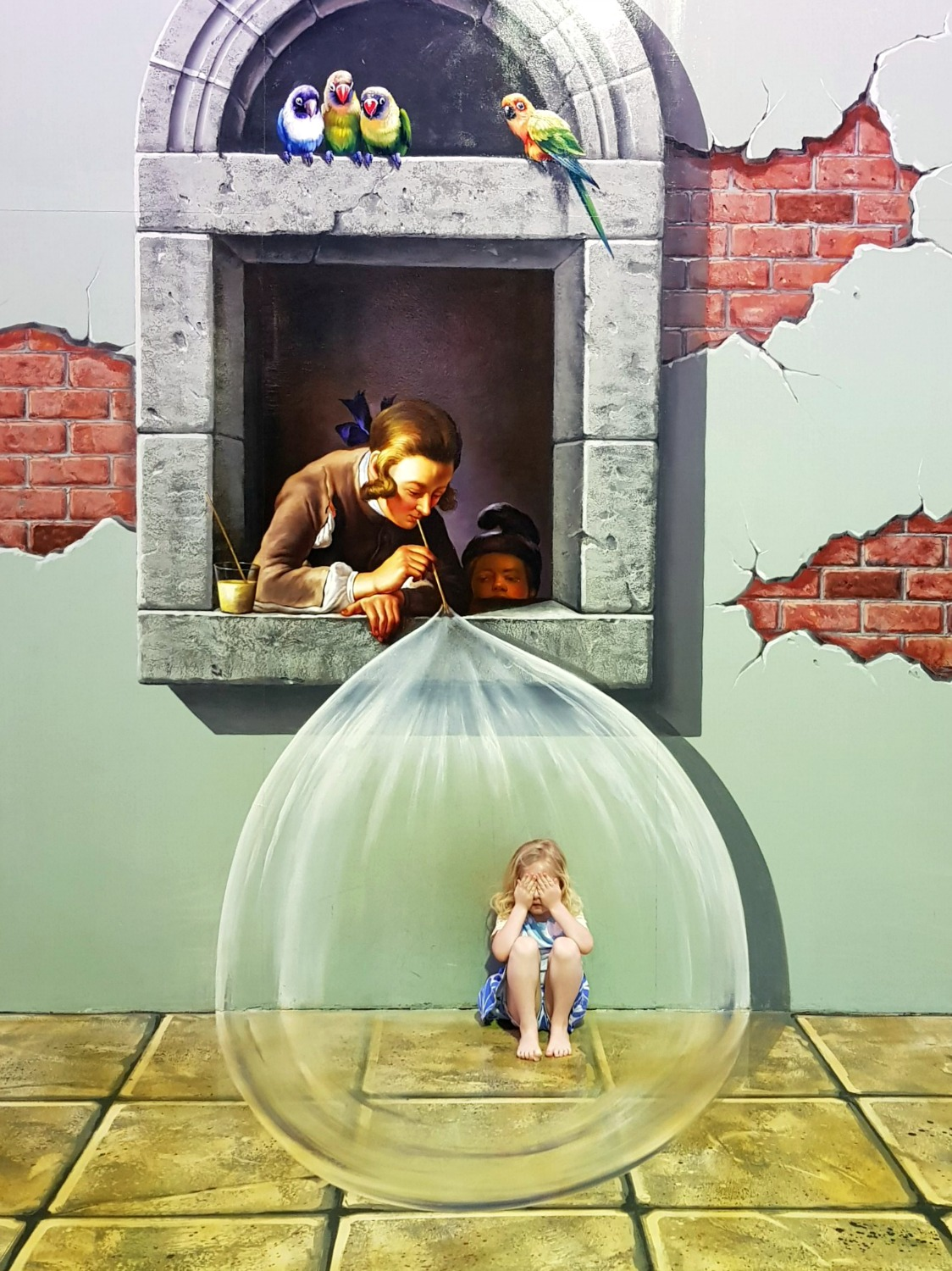 My daughter trapped inside a bubble at Langkawi Art in Paradise, one of Malaysia's 3D art museums