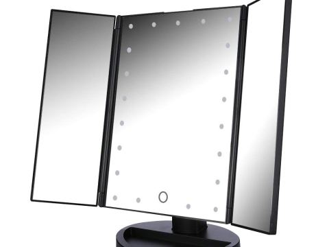 Tri-Fold Makeup Mirror with Lights, 21Pcs Led Lights Cosmetic Vanity Lighted Table Mirror (Black)