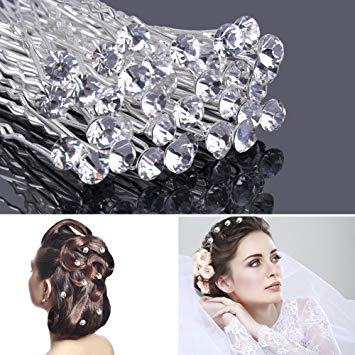 Crystal Hair Pins Rhinestone Wedding Hair Clips Bridal Hair Clips with Storage Box 30 Pcs