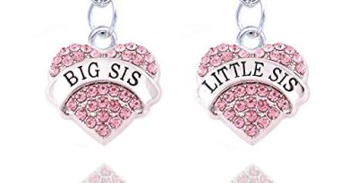 2pcs Women Family Jewellery Set Silver Alloy Pink Crystal Love Heart Big Little Sister Pendant Necklace