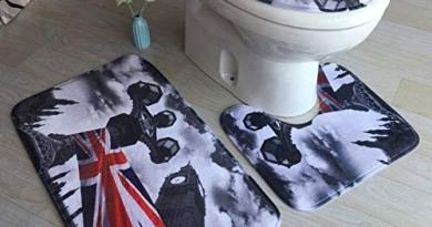 3D Flannel Printed Toilet Three-Piece Carpet Toilet Mat Bathroom Anti-Slip