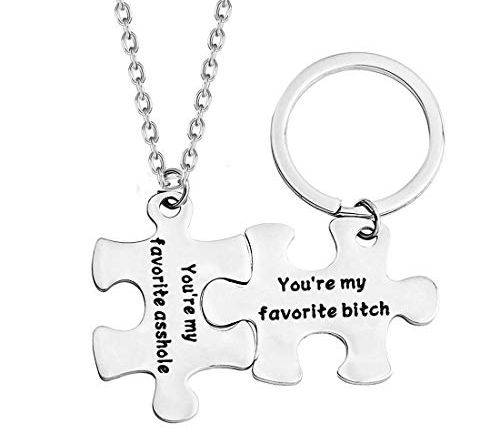 Funny Couple Gifts Puzzle Necklace Keychain You're My Favorite Asshole/Bitch for Her