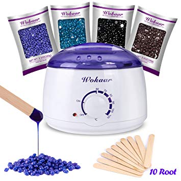 Wax Warmer Electric Wax Heater Hair Removal Waxing Kit with 4 Different Flavors Hard Wax Beans+10 Wax Applicator Sticks