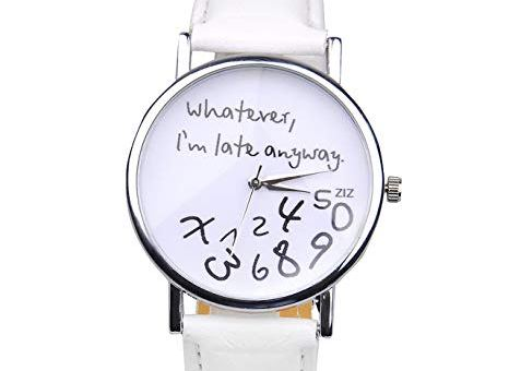 """Whatever, I'm late anyway"" Women's Fashion Analog Digital Quartz Birthday Gift Faux Leather Wristwatch White"
