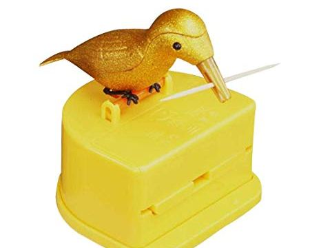 Funny Novelty Woodpecker Toothpick Dispenser,Portable Automatic Toothpick Box,Container Dispenser Holder Plastic Clean Toothpick Box (Yellow)