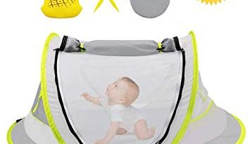 Baby Beach Tent, Pop Up Baby Tent Portable Baby Travel Tent Bed with Mosquito Net, UPF 50+ UV Protection Baby Sun Tent