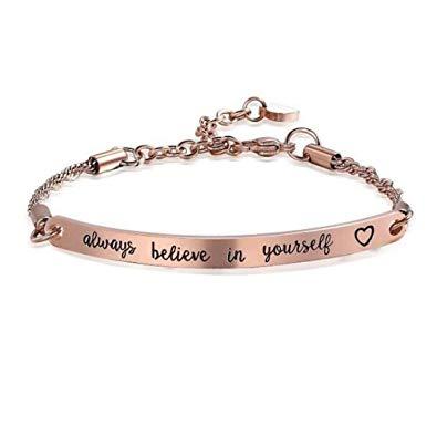 Inspirational Bracelet Engraved Always Believe in Yourself Women Men Rose Gold Bracelets Jewelry Gift