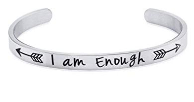 Women Men Cuff Bracelet Engraved I am Enough Arrow Bangle Bracelets for Boys Girls