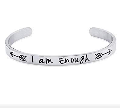 Women Men Cuff Bracelet Engraved I am Enough Arrow Bangle Bracelets for Boys Girls