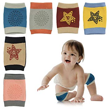 Baby Knee Pads, 6 Pairs Anti-Slip Soft Crawling Knee Pads Protectors