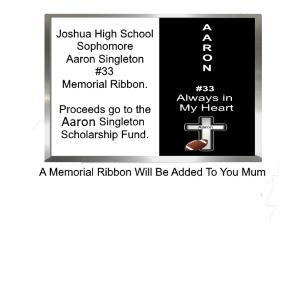 Aaron Singleton Memorial Ribbon for Homecoming Mums