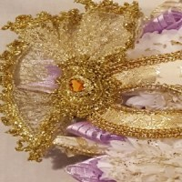 homecoming mum masquerade lavender close up